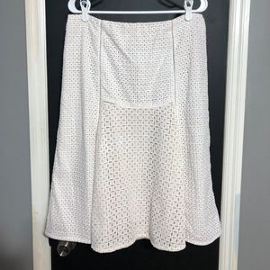 J Crew White Eyelet Skirt with Taupe Lining